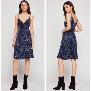 BCBGeneration Bird Print Satin Wrap Dress Blue